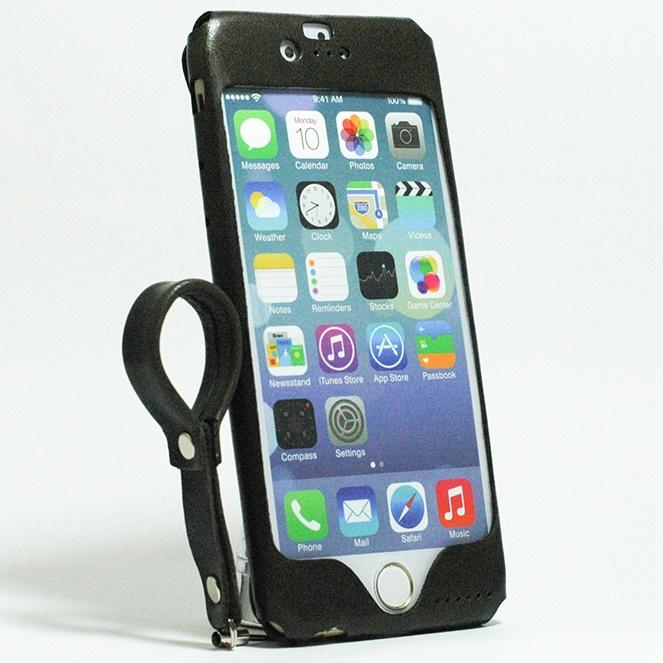 本革一枚で包み込むケース mobakawa レザーストラップ付き イタリアンホース ブラック iPhone 6