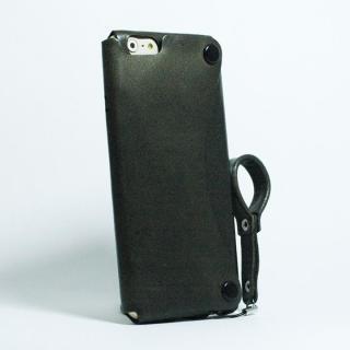 【iPhone6ケース】本革一枚で包み込むケース mobakawa レザーストラップ付き イタリアンホース ブラック iPhone 6_1