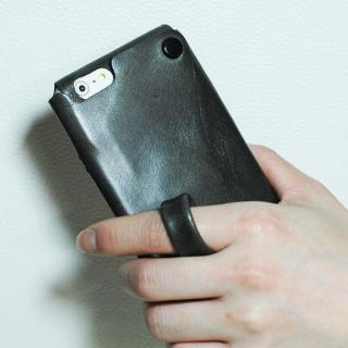 【iPhone6ケース】本革一枚で包み込むケース mobakawa レザーストラップ付き イタリアンホース ブラック iPhone 6_2