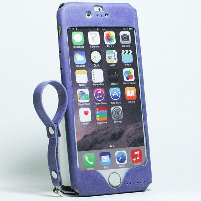 【iPhone6ケース】本革一枚で包み込むケース mobakawa レザーストラップ付き アッシュパープル iPhone 6_0