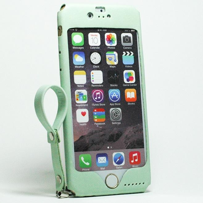 本革一枚で包み込むケース mobakawa レザーストラップ付き アッシュミント iPhone 6