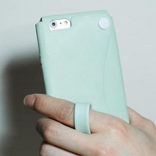 【iPhone6ケース】本革一枚で包み込むケース mobakawa レザーストラップ付き アッシュミント iPhone 6_2