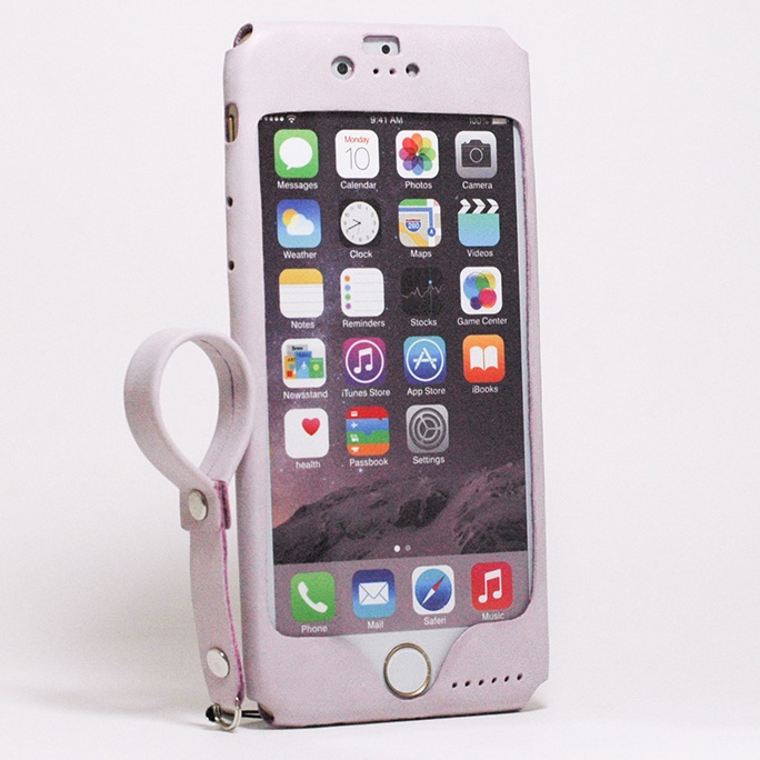 【iPhone6s/6ケース】本革一枚で包み込むケース mobakawa レザーストラップ付き ラディアント・オーキッド iPhone 6s/6_0