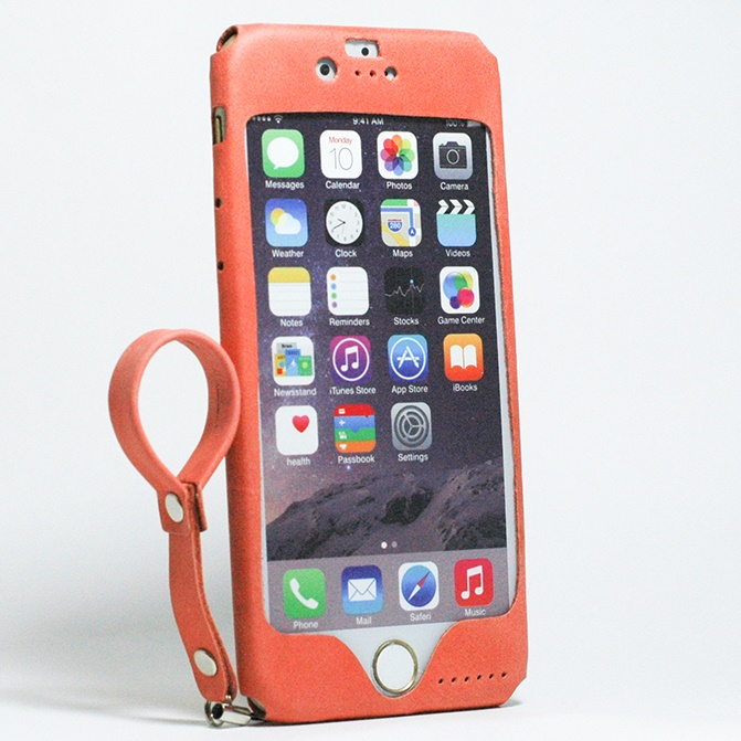 【iPhone6s/6ケース】本革一枚で包み込むケース mobakawa レザーストラップ付き アッシュオレンジ iPhone 6s/6_0