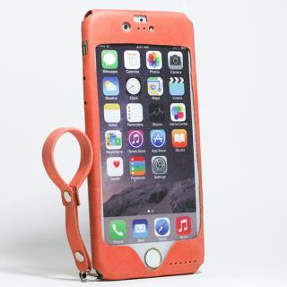 本革一枚で包み込むケース mobakawa レザーストラップ付き アッシュオレンジ iPhone 6s/6
