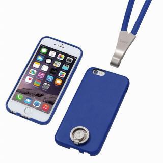 Deff 多機能PUレザーケース ネックストラップ付き ブルー iPhone 6s/6