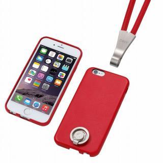 Deff 多機能PUレザーケース ネックストラップ付き レッド iPhone 6