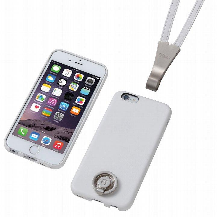 【iPhone6ケース】Deff 多機能PUレザーケース ネックストラップ付き ホワイト iPhone 6_0