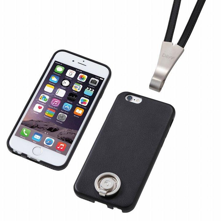 iPhone6 ケース Deff 多機能PUレザーケース ネックストラップ付き ブラック iPhone 6_0