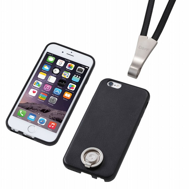 【iPhone6ケース】Deff 多機能PUレザーケース ネックストラップ付き ブラック iPhone 6_0