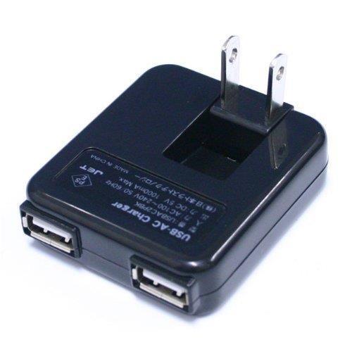 USB-ACチャージャー ACアダプター 2ポート ブラック_0