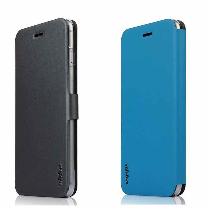 リバーシブル仕様 手帳型ケース グレイ/ブルー iPhone 6