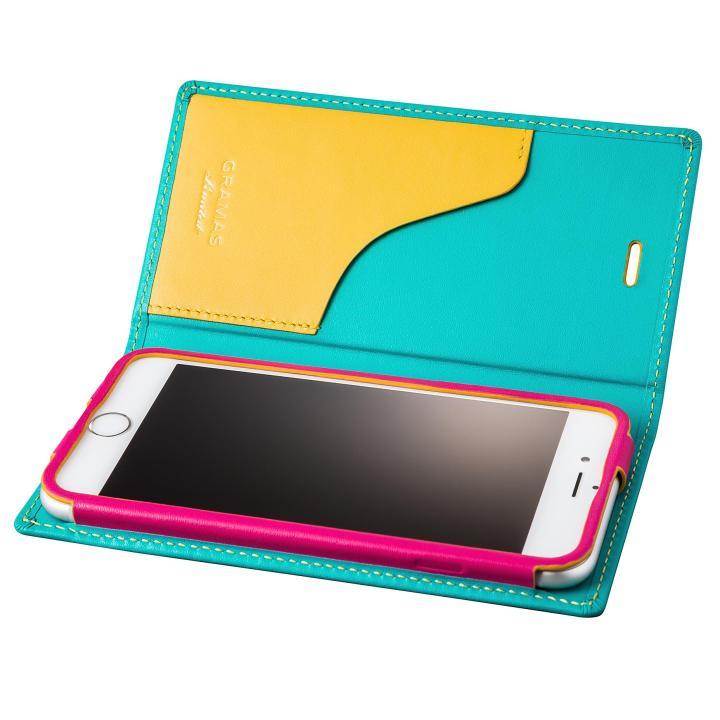 [数量限定モデル]GRAMAS フルレザー手帳型ケース Sapeur ターコイズ iPhone 6s/6