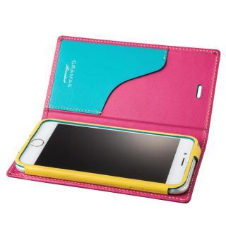[数量限定モデル]GRAMAS フルレザー手帳型ケース Sapeur ピンク iPhone 6s/6