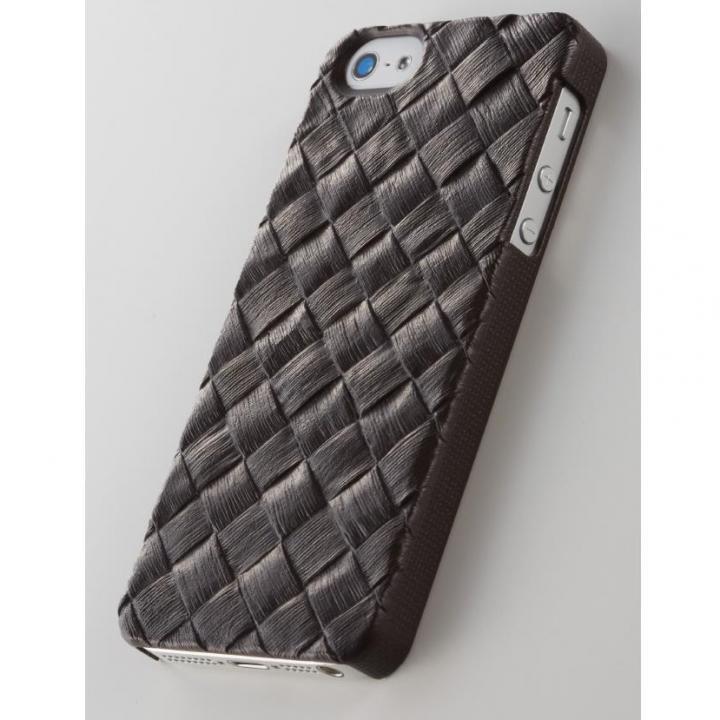 次元シリーズ 籐 3Dテクスチャーカバー 黒茶 iPhone SE/5s/5ケース