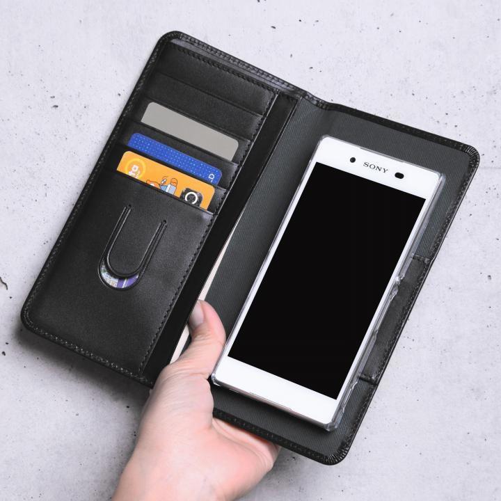 【iPhone7/7 Plusケース】お札も入る手帳型汎用スマートフォンケース Simoni(シモーニ) ブラック_0