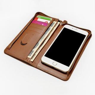 【iPhone SE ケース】Ludovico(ルドヴィーコ) ファスナー付きウォレット型汎用スマホケース ブラウン