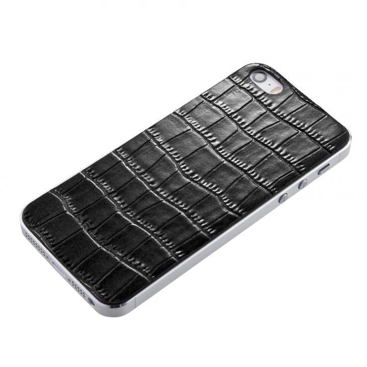 【iPhone SE/5s/5ケース】GRAMAS Crocodile type 牛皮革 iPhone SE/5s/5 バックパネル ブラック_0