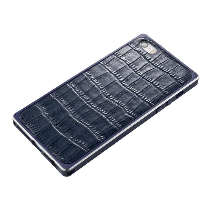 iPhone SE/5s/5 ケース GRAMAS Crocodile type 牛皮革 iPhone SE/5s/5 バックパネル ネイビーブルー_0