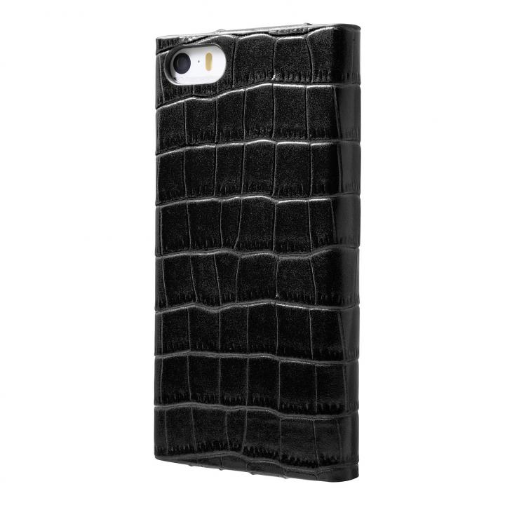クロコダイル型押し高級レザー GRAMAS Crocodile ブラック iPhone SE/5s/5 手帳型ケース