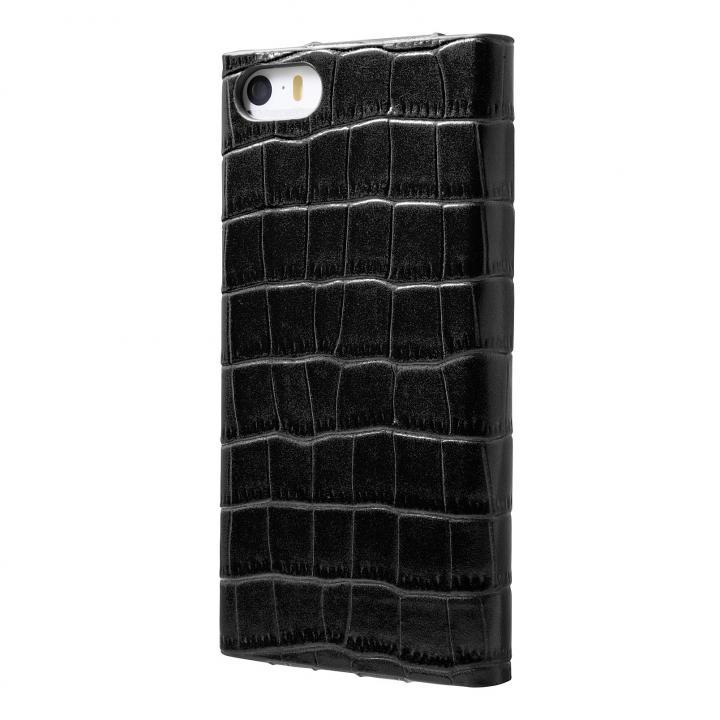 【iPhone SE/5s/5ケース】クロコダイル型押し高級レザー GRAMAS Crocodile ブラック iPhone SE/5s/5 手帳型ケース_0