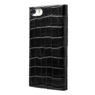 クロコダイル型押し高級レザー GRAMAS Crocodile ブラック iPhone5s/5 手帳型ケース