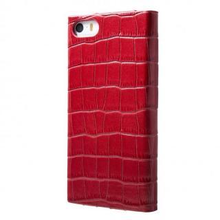 クロコダイル型押し高級レザー GRAMAS Crocodile レッド iPhone SE/5s/5 手帳型ケース