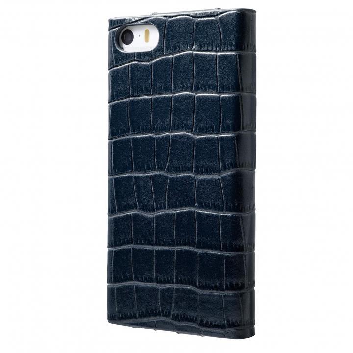 iPhone SE/5s/5 ケース クロコダイル型押し高級レザー GRAMAS Crocodile ネイビーブル iPhone SE/5s/5 手帳型ケース_0