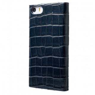 クロコダイル型押し高級レザー GRAMAS Crocodile ネイビーブル iPhone SE/5s/5 手帳型ケース