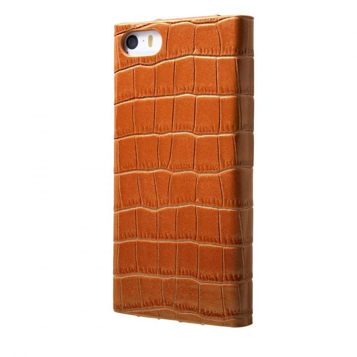 iPhone SE/5s/5 ケース クロコダイル型押し高級レザー GRAMAS Crocodile タン iPhone SE/5s/5 手帳型ケース_0