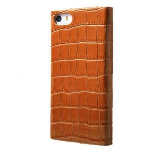 クロコダイル型押し高級レザー GRAMAS Crocodile タン iPhone SE/5s/5 手帳型ケース