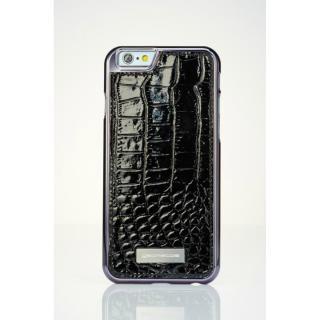 【iPhone6ケース】クロコダイル風 高級本革ケース ブラック iPhone 6
