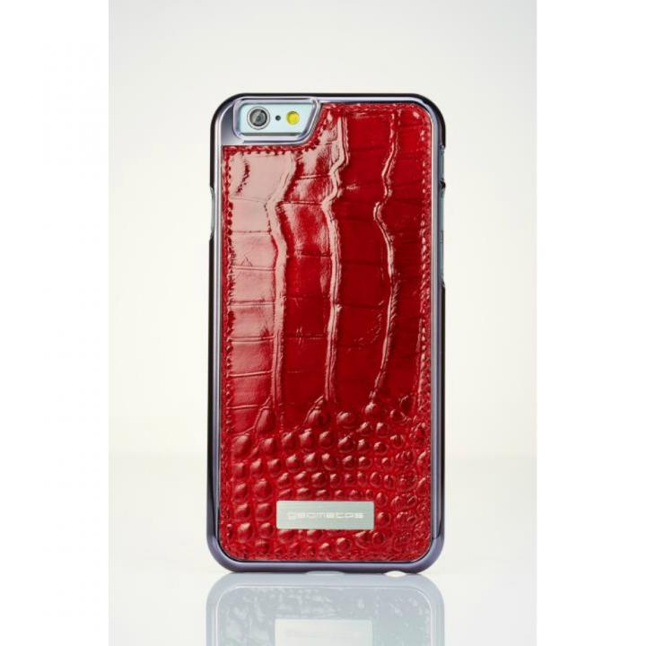 【iPhone6ケース】クロコダイル風 高級本革ケース レッド iPhone 6_0