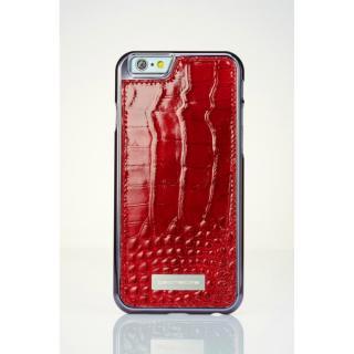 【iPhone6ケース】クロコダイル風 高級本革ケース レッド iPhone 6