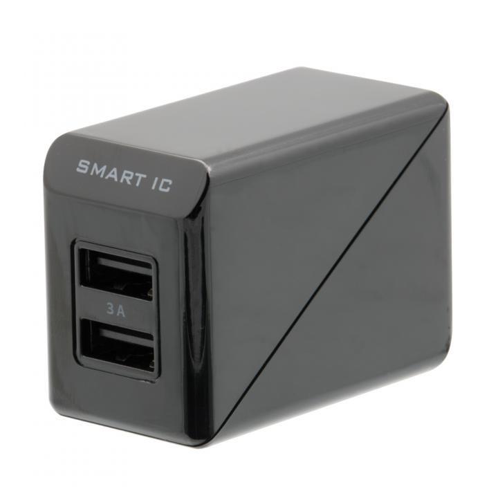 コンパクトなAC充電器でかしこく充電 スマートIC搭載 急速充電 3A出力対応 AC充電器 ブラック