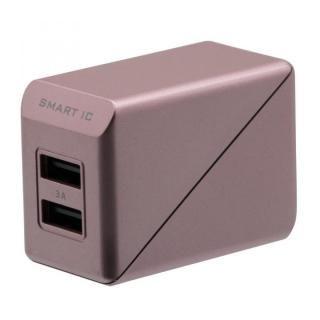 コンパクトなAC充電器でかしこく充電 スマートIC搭載 急速充電 3A出力対応 AC充電器 ローズゴールド