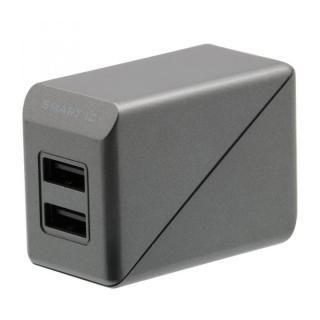 コンパクトなAC充電器でかしこく充電 スマートIC搭載 急速充電 3A出力対応 AC充電器 グレー