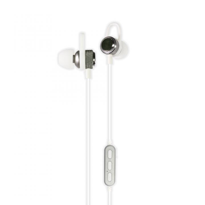 Bluetooth4.2 IPX4準拠 マグネット付き インナーイヤータイプ 防水ワイヤレスイヤホン ホワイト_0