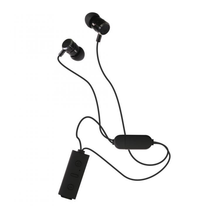 Bluetooth4.2 IPX4準拠 ネックストラップ式 ワイヤレスイヤホン ブラック_0