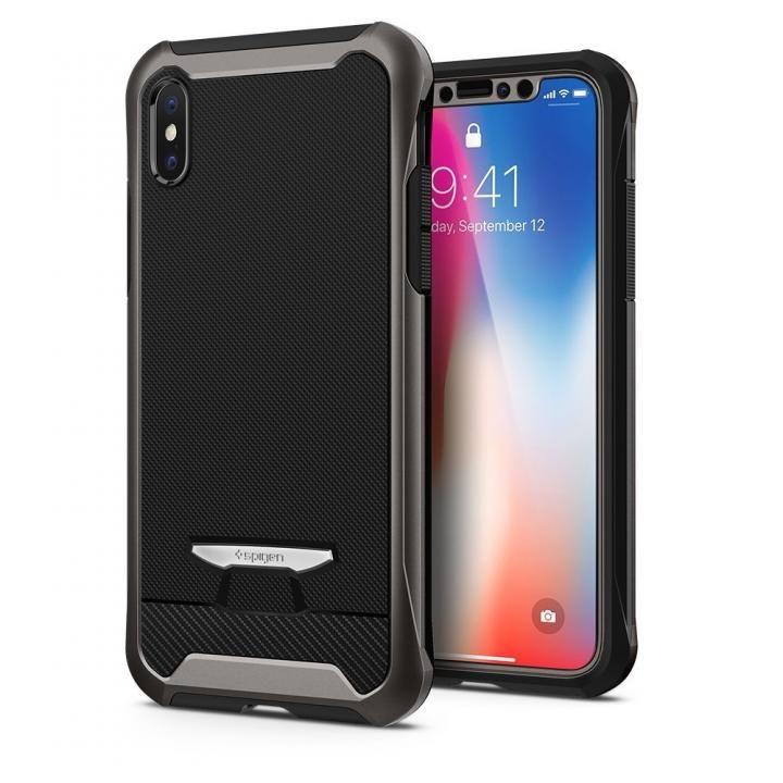 【iPhone Xケース】Spigen レヴェントン ガンメタル iPhone X_0
