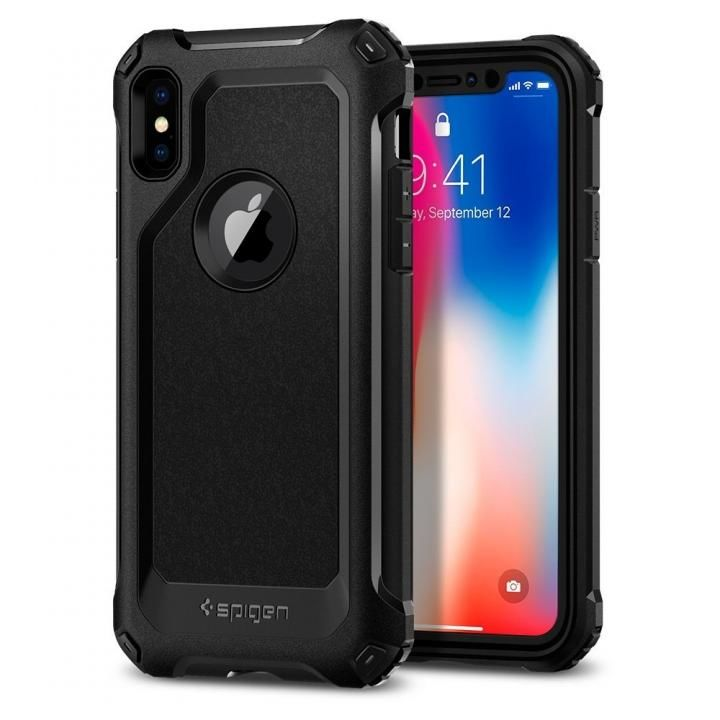 【iPhone Xケース】Spigen プロガード ブラック iPhone X_0