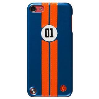 [百花繚乱セール]iPod touch (第5世代) 本革張りハードケース レトロレーサー ブルー/オレンジ