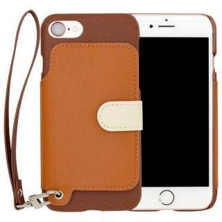 RAKUNI PUレザー ブックタイプケース with ストラップ ブラウン iPhone 7