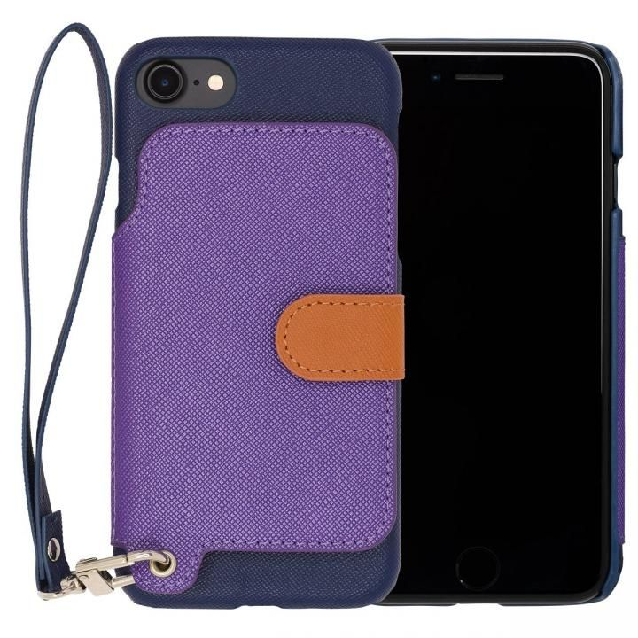 【iPhone7ケース】RAKUNI PUレザー ブックタイプケース with ストラップ ブルー iPhone 7_0
