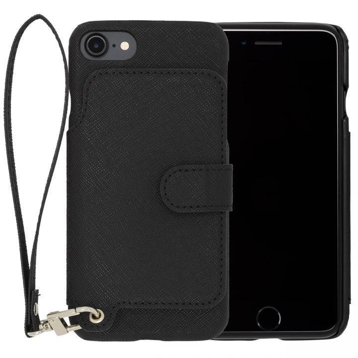 RAKUNI PUレザー ブックタイプケース with ストラップ ブラック iPhone 7