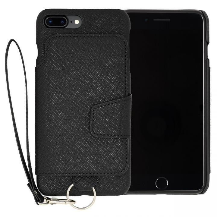 【iPhone7 Plusケース】RAKUNI PUレザー ブックタイプケース with ストラップ ブラック iPhone 7 Plus_0