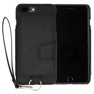 RAKUNI PUレザー ブックタイプケース with ストラップ ブラック iPhone 7 Plus