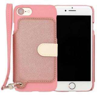 RAKUNI PUレザー ブックタイプケース with ストラップ ピンク iPhone 7