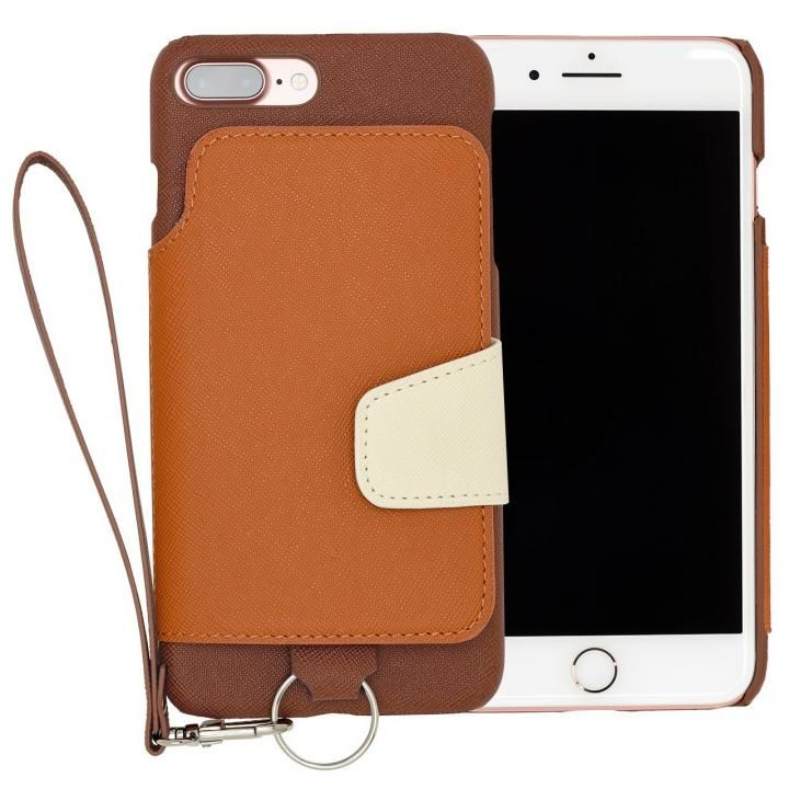 RAKUNI PUレザー ブックタイプケース with ストラップ ブラウン iPhone 7 Plus