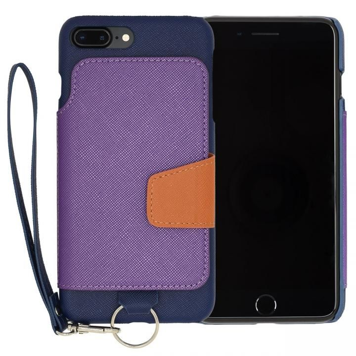 【iPhone7 Plusケース】RAKUNI PUレザー ブックタイプケース with ストラップ ブルー iPhone 7 Plus_0